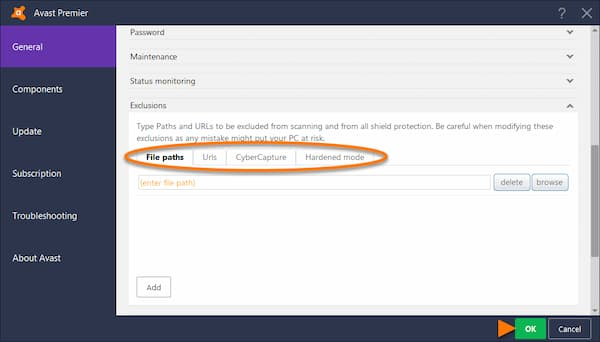 add exception to avast firewall