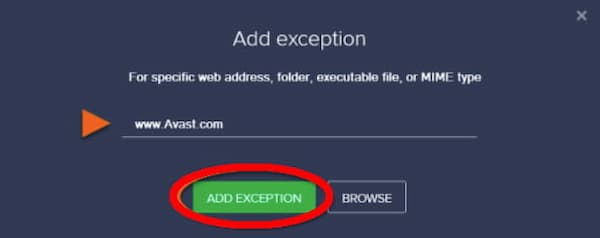 add exclusions to avast business