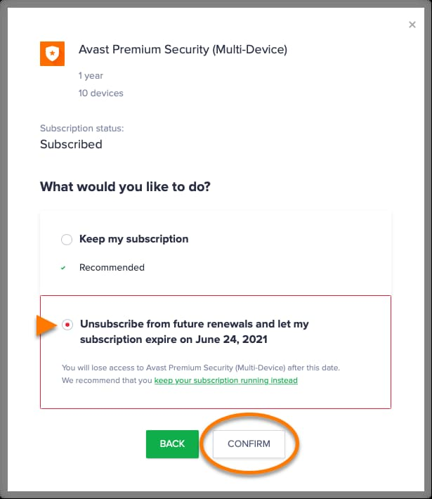 how to cancel avast 60 day free trial