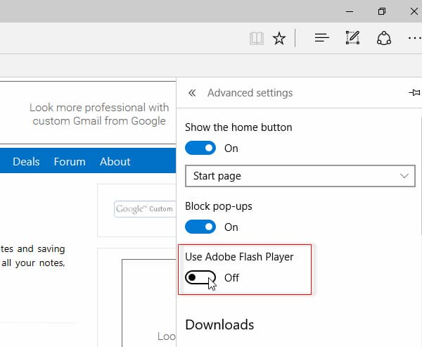 how to unblock adobe flash player on windows 10 edge