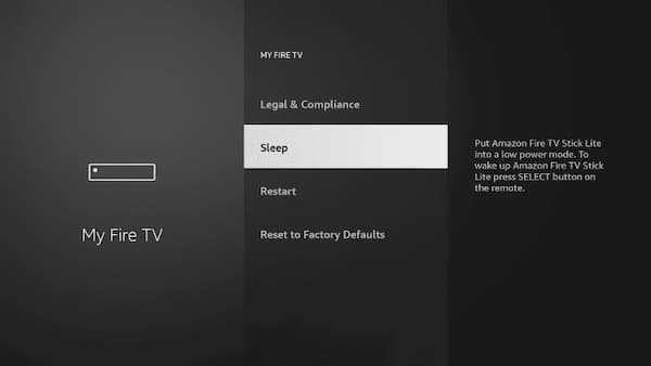 how to sleep the firestick from settings